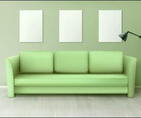 Green sofa and three whiteboards on the wall vector