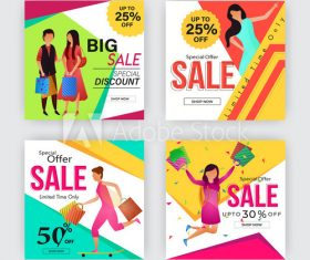 Half price sale poster design template vector
