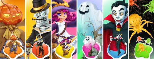 Halloween cartoon character pattern illustration vector