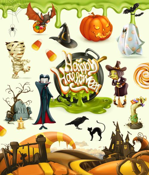 Halloween 3d vector icons. Pumpkin