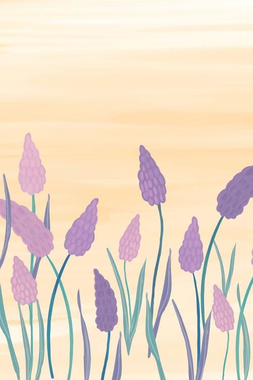 Hand drawn grape hyacinth mockup vector