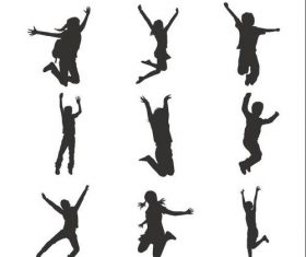 Happy jumping children silhouette vector