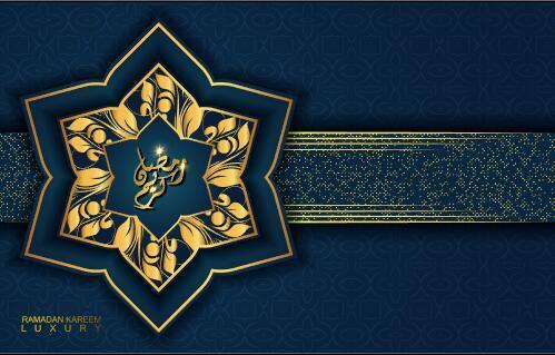 Hexagon pattern Ramadan Kareem card vector