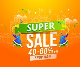 Indian festival super big sale card vector