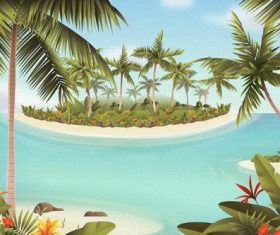 Island watercolor painting vector
