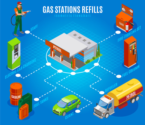 Isometric concept gas station vector