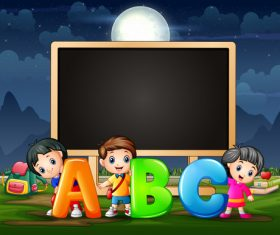Kids and letters cartoon background vector