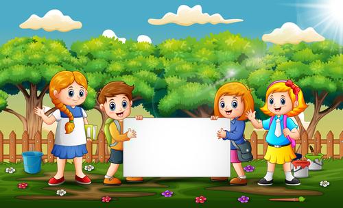 Kids cartoon background vector