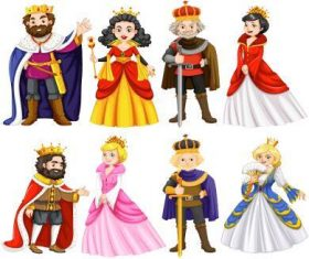King and queen cartoon characters vector
