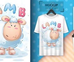Lamb and merchandising mockup print t-shirt vector