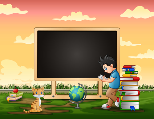 Learning cartoon background vector