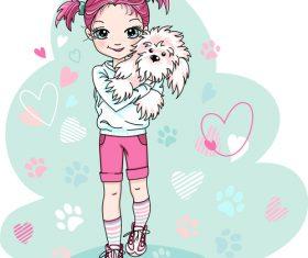 Little girl holding pet dog vector