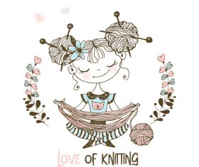 Love of kniting girl vector