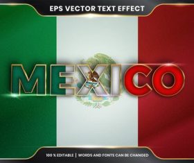 MEXICO country name editable font effect text vector