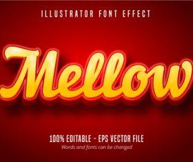 Mellow text 3D editable font vector