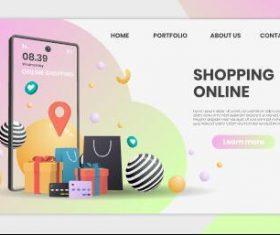 Mobile shopping website template landing page vector