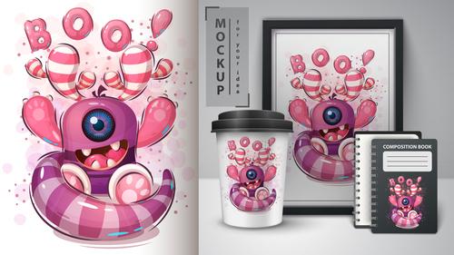 Monocular monster merchandising mockup print t shirt vector