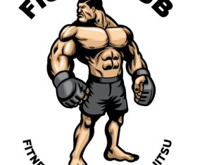 Muscle fighter MMA fight club logo vector