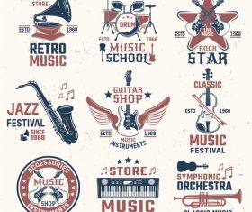 Musical instruments emblems logos vector