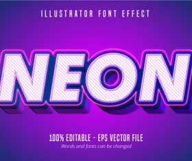 Neon text 3D editable font vector