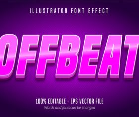 Offbeat textpurple editable text effect vector