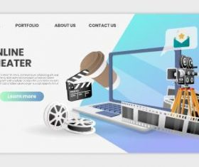 Online cinema landing page template vector