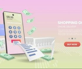 Online payment template landing page vector