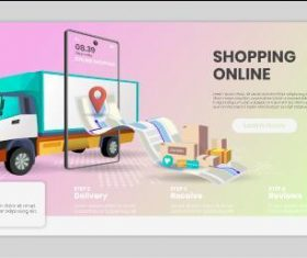 Online shopping process landing page template vector