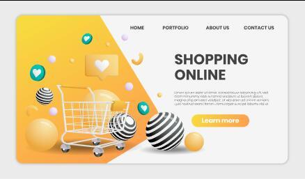 Online shopping template landing page vector