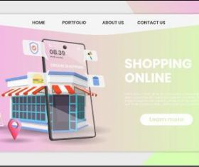 Online store template landing page vector