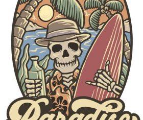 Paradise beach handrawn logo vector