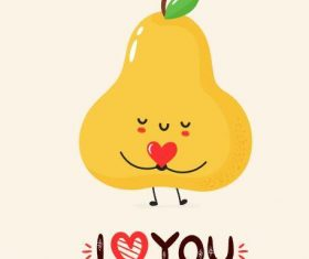 Pear cartoon smile vector