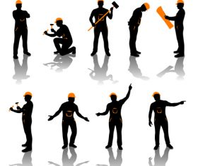 People in different poses silhouette vector