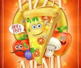 Pizza menu cartoon vector