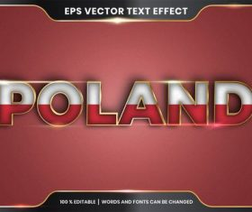 Poland country name editable font effect text vector