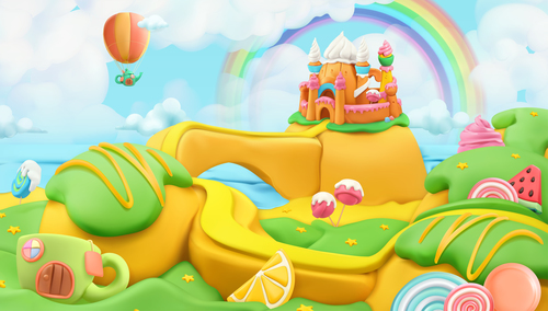 Pretty Plasticine castle 3d realistic illustrations vector
