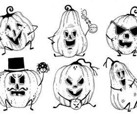 Pumpkin hand-painted emoji vector