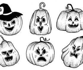 Pumpkins with different expressions hand-painted vector