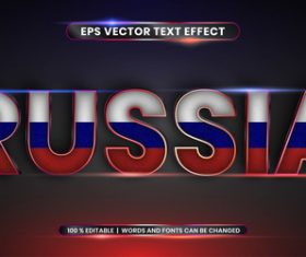 RUSSIA country name editable font effect text vector