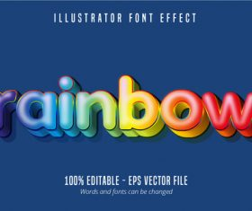 Rainbow text editable vector