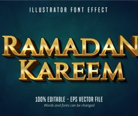 Ramadan kareem shiny gold text vector