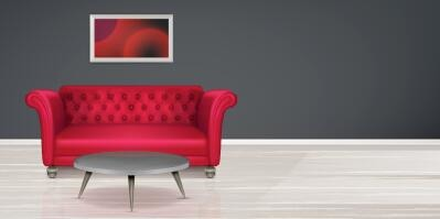 Red sofa and round table background vector