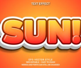 SUN editable font ffecte text vector