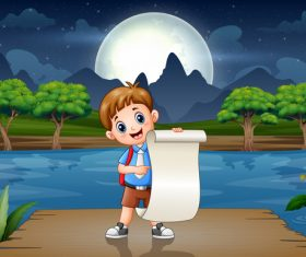 School children and blank paper cartoon background vector