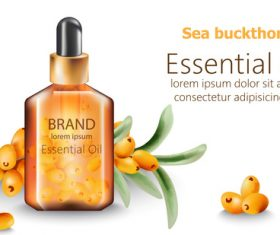 Sea buckthorn ingredient cosmetic ad vector