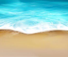 Sea wave with foam splashing on beach vector illustration