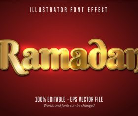 Shiny Gold Ramadan Text Effect Vector