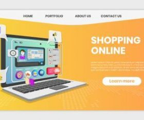 Shopping guide landing page template vector