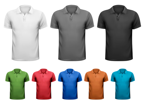 Short sleeve t shirts different colors vector