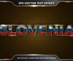 Slovenia country name editable font effect text vector